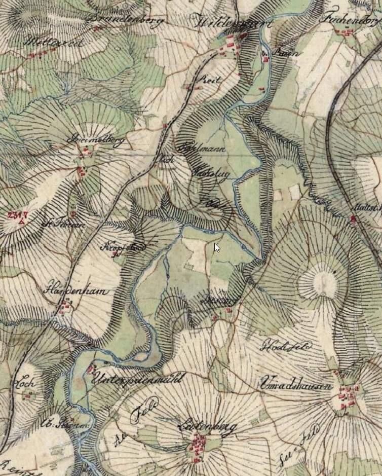 Topographische Karte Frasdorf um 1820
